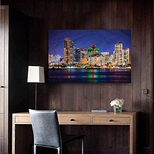 Waterproof Art Wall Paper Poster USA Colorful Skyline of San Diego Large Removable Decals Size : W28 x H20