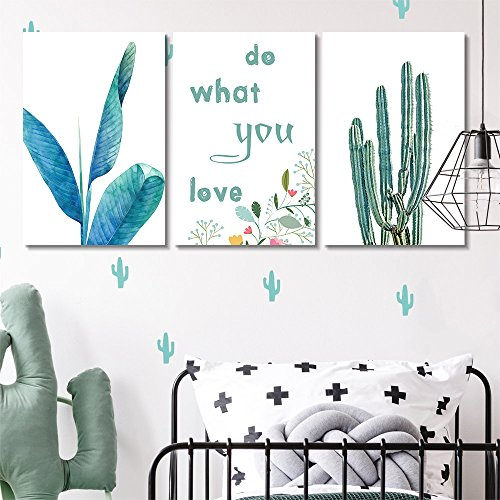 3 Panel Tropical Plant Cactus and Do What You Love Quotes Gallery x 3 Panels