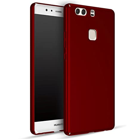 Huawei P9 Plus Carcasa, Panphy Alta calidad Ultra Slim Hard sedoso Scrub Shell plena protección trasera piel siento cover para Huawei P9 Plus Rojo