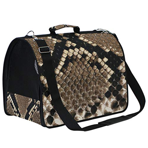 - senya Snake Skin Texture Premium Travel Airline Approved Pet Carrier Designed for Cats, Dogs, Kittens,Puppies - Soft Sided Carrier!