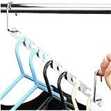 H&S 6pcs Wardrobe Clothes Wonder Hanger Hooks Organiser Magic Closet Coat Clothing Organiser Hanging Hangers Metal (Pack of 6)