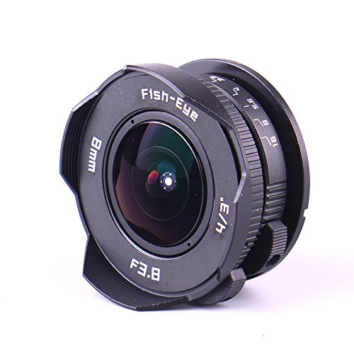 Pixco 8mm F3.8 Fish-Eye Focusing Infinity CCTV Lens+16mm C Mount Film Lens to Micro Four Thirds 4/3 Camera Lens Adapter (Micro 4 3 To C Mount Adapter)
