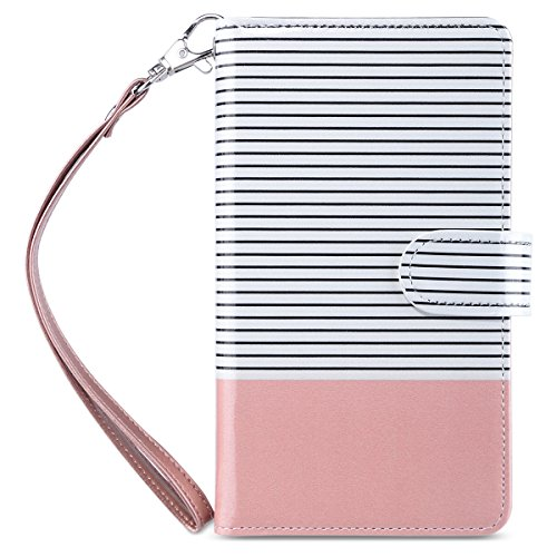 ULAK Note 5 Case, Galaxy Note 5 Case, Note 5 Case Wallet for Women Premium PU Leather Case with 9 Card Holder ID Slot and Hand Strap Shockproof Cover -Rose Gold Stripes
