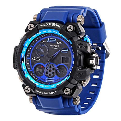 SINOBI Men's Sport Watch Digital Analog Waterproof Military LED Rubber Strap Wrist Chronograph (Chronograph Black Face Rubber Strap)