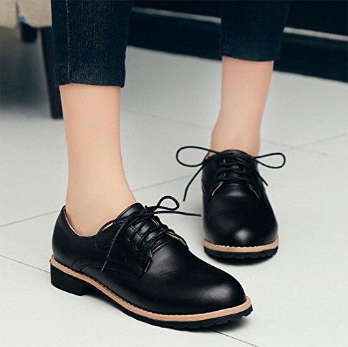 CN38 primavera US7 zapatos EU38 UK5 otoño 5 de La solos zapatos con y encaje los señoras de gruesas los bajo Sra tacón 5 CqYT5nB