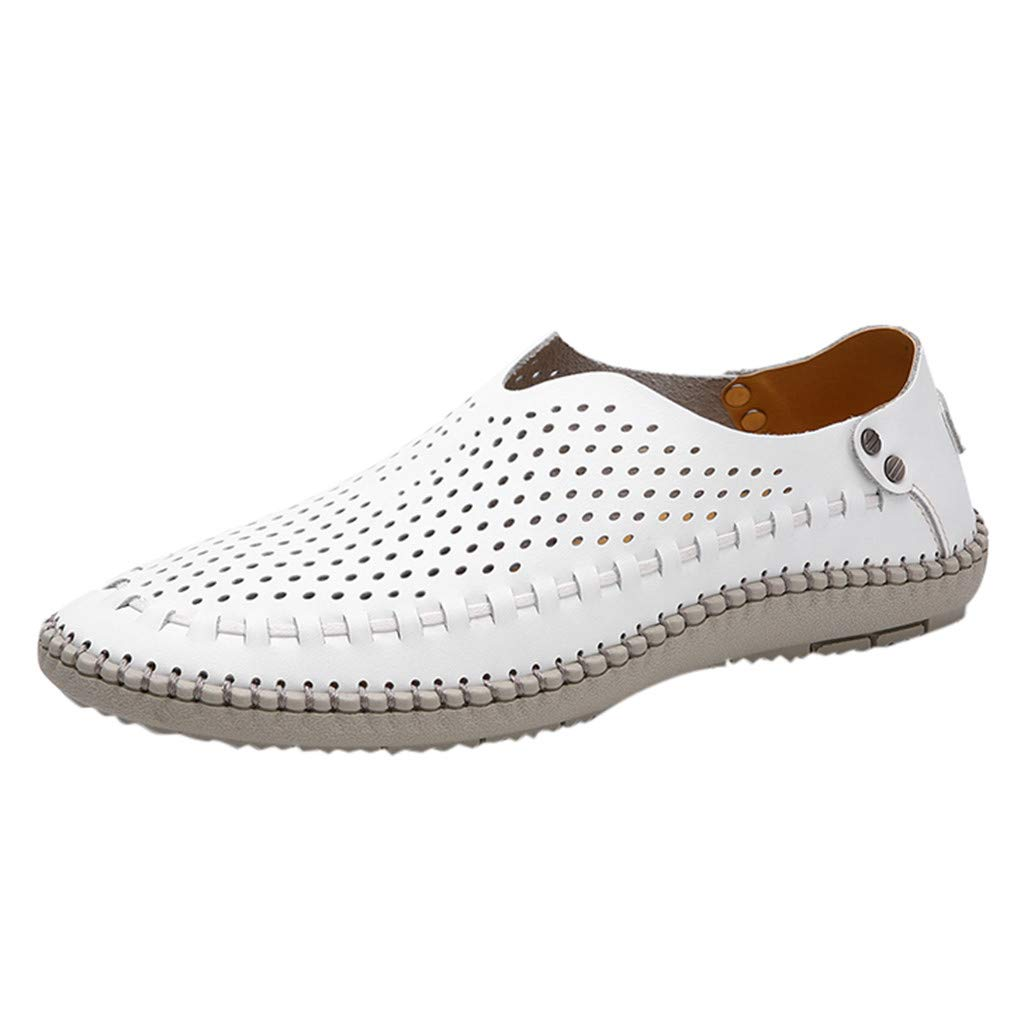 【MOHOLL】 Men's Casual Handmade Leather Loafer Shoes Breathable Hole Slip On Driver Boat Moccasins White by ✪ MOHOLL Shoes ➤Clearance Sales