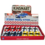 12 pcs in Box: 5'' 2007 Ford Shelby GT500 with Stripes 1:38 Scale (Blue/Red/White/Yellow)