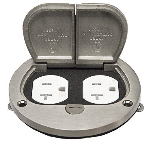 (Enerlites 975503-S 4''  Nickel Plated Brass Hinged Floor Box Cover, 20A Duplex Tamper-Weather Resistant Receptacle )