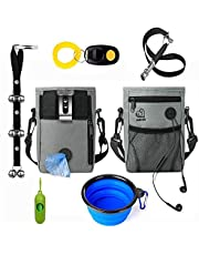 6 in 1 Dog Training Set.Puppy Training,Dog Treat Pouch with Dog Clicker, Poop Bag Dispenser, Dog Door Bells, Dogs Whistle,Collapsible Dog Bowl to Clicker Dog Training Puppy Treats Dog Accessoires