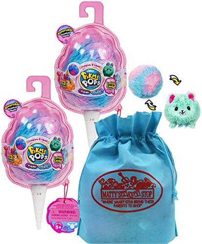 Pikmi Pops Surprise Pikmi Flips (Reversible Scented Plush) Cotton Candy Series Gift Set Bundle with Bonus Mattys Toy Stop Storage Bag - 2 Pack