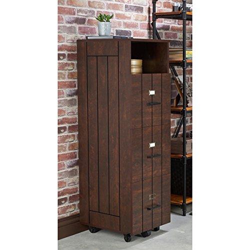 Furniture of America Ceris Rustic Slatted 3-drawer Mobile Vintage Walnut File Cabinet (3 Wholesale Drawer Mobile)