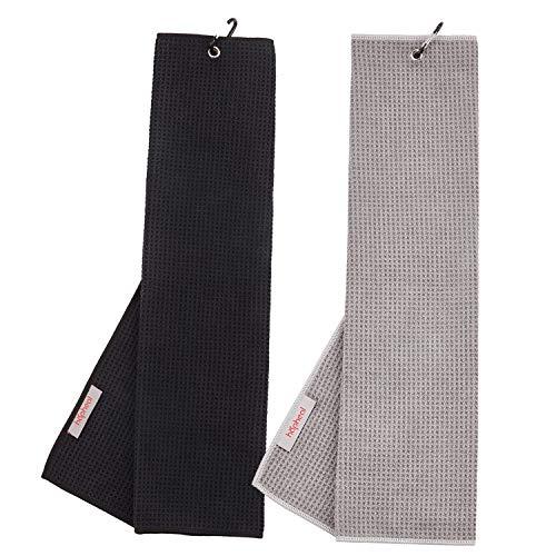 "haphealgolf Golf Towel (2 Pack) 16"" x 21"" Tri-fold Microfiber Waffle with Carabiner Clip (Black+Gray)"