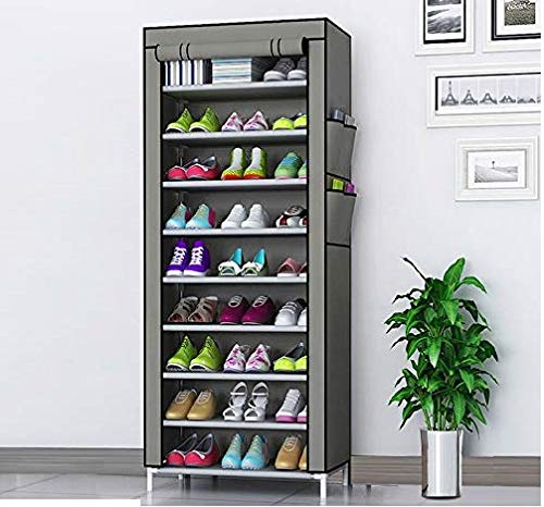 Zizer 9 Layer Multipurpose Portable Folding Shoes Rack/Shoes Shelf/Shoes Cabinet with Wardrobe Cover, Easy Installation Stand for Shoes(Shoes Rack)(Shoes Rack, Shoes Racks for Home)_9 Layer Grey
