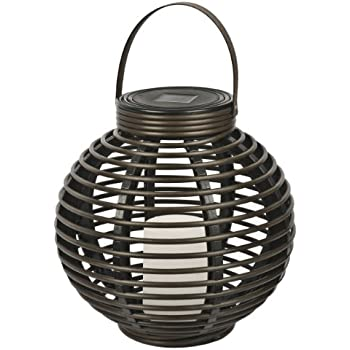 Paradise GL29353BR Solar Flickering LED Round Rattan Basket Outdoor Light, Brown