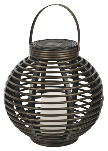 (Paradise by Sterno Home Solar Flickering LED Round Rattan Basket Outdoor Light, Brown)