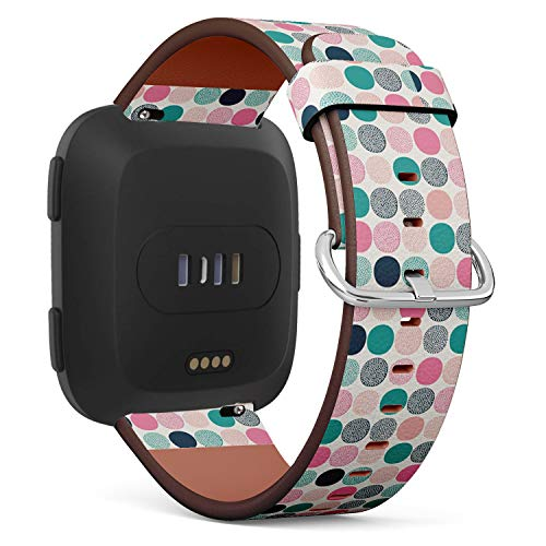 Compatible with Fitbit Versa - Quick-Release Leather Band Bracelet Strap Wristband Replacement - Geometric Dots