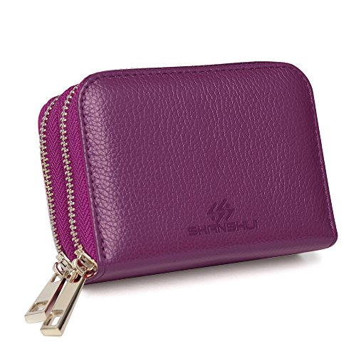 SHANSHUI RFID Blocking Primely Genuine Leather Credit Card Wallet for Mother's Day Gift (Purple)