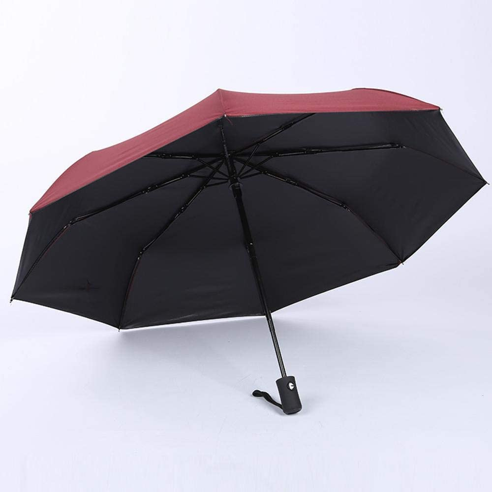 TtKj Folding Umbrella Tri-fold Black Glue Solid Color Business Folding Sun Visor Automatic Umbrella 5696cm