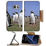 Liili Premium Samsung Galaxy S7 Flip Pu Leather Wallet Case IMAGE ID: 8424950 Close up view to colony gentoo penguins in Falkland islands