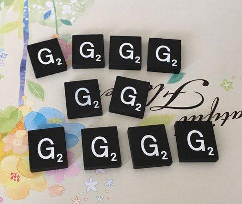 (10) 黒と白のスクラブル文字「G」タイル、工芸用個別スクラブルタイル、AからZスクラブルタイル在庫有り