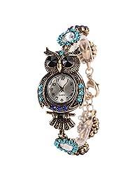Pulsera Búho Relojes Retro Para Mujer - Exquisita Talla De Animales Diamantes Decorado Brazalete Relojes Para Niñas