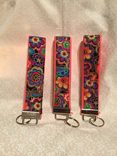 (Wristlet Key Fob Featuring Bright Dogs & Doggies Floral Fabric By Laurel Burch for Clothworks with key)
