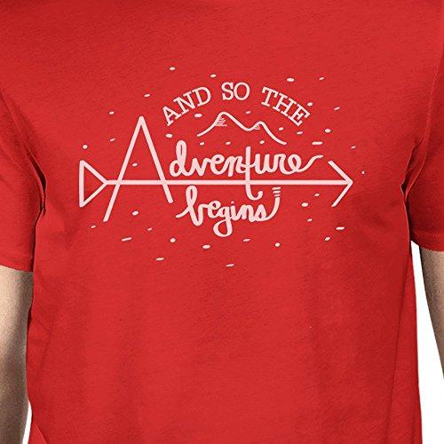 la corta en manga hombre 365 comienza y de Printing Camiseta rojo para aventura UwOwWFqBf
