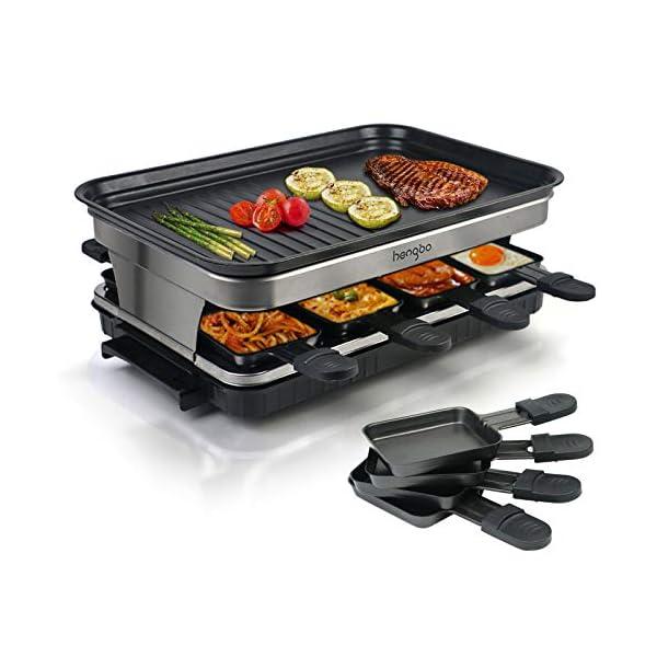 Raclette 8 Persone Piastra Raclette Grill in Alluminio, 8 Pentolini da Raclette, Calore Regolabile Continuo Termostato… 1