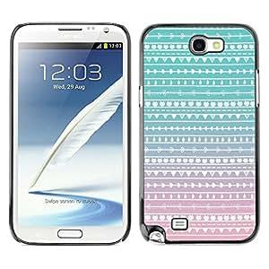 Caucho caso de Shell duro de la cubierta de accesorios de protección BY RAYDREAMMM - Samsung Galaxy Note 2 N7100 - Teal Pink White Wallpaper