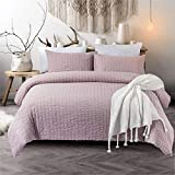 IKONICASA Seersucker Duvet Cover Set 3 Piece Natural Style Washed Microfiber Polyester Comforter Cover with 2 Pillowcases, Dusty Bean Pastel, King