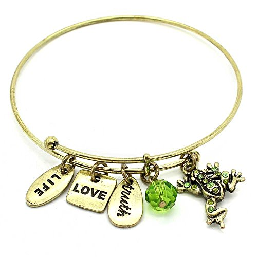 KIS-Jewelry Symbology 'Frog' Bangle Bracelet, Gold Plated - Expandable Wire Charm Bracelet Accented With Crystal Stones And One Shiny Glass Bead - Perfect Jewelry For Fashion ()