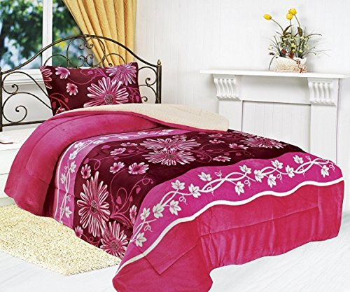 All American Collection New Super Soft and Warm 2 Piece Borrego/Sherpa Blanket Twin Size (Pink -