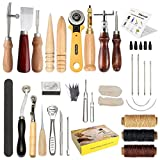 Leather Craft Tool SIMPZIA 28 Pcs Professional Leather Sewing Kit DIY Hand Stitching Tools with Groover Awl Edge Creaser.Be Careful of Its sharp edges Keep Way from Children