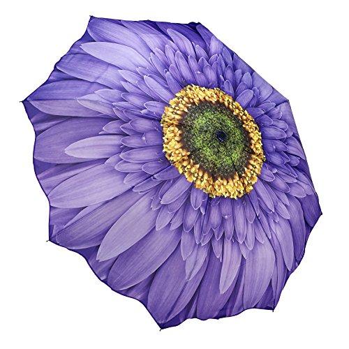 Galleria Purple Daisy Auto-Open/Close Extra Large Portable Rain Folding Umbrella