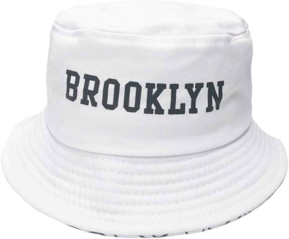 bbzzaa Bucket Hat Hombres Mujeres Summer Bucket Cap Brooklyn Print Hat Bob Hat Hip Hop Gorros Fishing Fisherman Hat-White