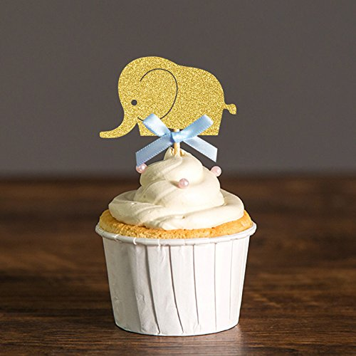 Elephant Cupcake Toppers Silver & Blue/Gold & Pink Baby Shower/Boy or Girl First Birthday Decor Party Decorations (Baby Shower Blue Punch)