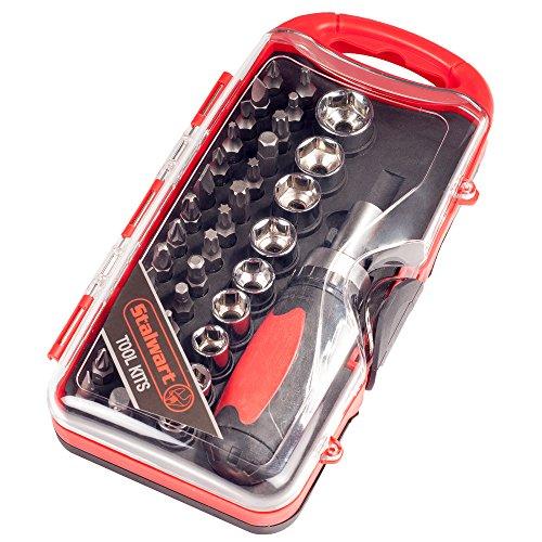 Stalwart 75-HT4038 Stubby Ratchet, Metric Socket and Bit Set (38 (Metric Screwdriver)