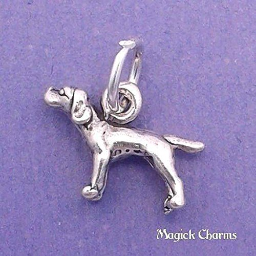 (925 Sterling Silver 3-D Pointer Dog Charm Miniature Jewelry Making Supply, Pendant, Charms, Bracelet, DIY Crafting by Wholesale Charms)