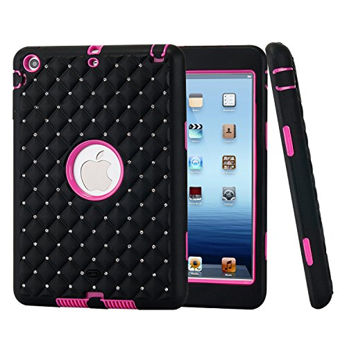 iPad Mini Case, iPad Mini 2/3 Case, Easytop 3 in 1 Hybrid Hard PC + Silicone Case Cover Bling Crystal Rhinestones Design Durable Protective Shell Case Shockproof Heavy Duty Case - Can From Glass Scratches Remove U