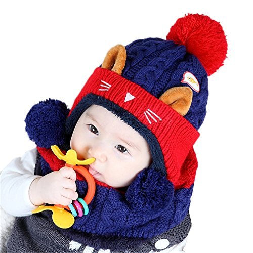 CoKate Baby Pilot Aviator Crochet Caps, Baby Winter Cartoon Cat Hat and Scarf Warm Lined Fleece (Navy)