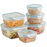 VonShef 6 Piece Microwavable Plastic Food Storage Container Set with Air Tight Lids