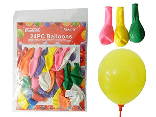 24PC 9'' Balloons Assorted Colors , Case of 144 by DollarItemDirect