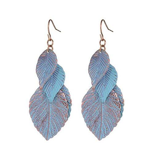 G.T.B Europe Alloy Flakes Leaves Sky Blue Painting Leaves Tassel Earrings Femlae Jewelry(C1)