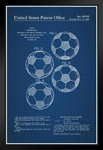 Soccer Ball Classic Official Patent Blueprint Framed Poster 14x20 inch