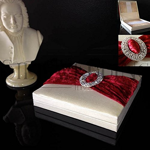 [Smooth Creamy Silk Invitation Box With Deep Red Ribbon And Sparkling Silver Oval Buckle] (Buckle Silk)