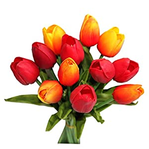 """Mandy's 12pcs Orange and red Artificial Tulip Flowers 14"""" for Party Home Wedding Decoration 9"""