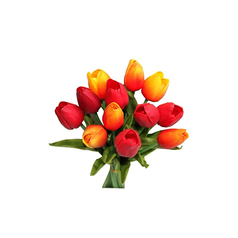 silk flower arrangements mandy's 12pcs orange and red artificial latex tulips for party home wedding decoration