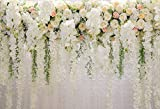HUAYI 10x8ft White Flower Backdrop Curtain Floral 3d flower Wedding Party Background Photo Backdrop for wedding reception Baby shower Photo Booth Props Xt-6749