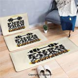 FashSam 3 Piece Non Slip Flannel Door Mat Push Harder Sports Phrase Positive Message Grungy Display with Dumbbell Decorative Indoor Carpet for Bath Kitchen(W15.7xL23.6 by W19.6xL31.5 by W35.4xL62.9)