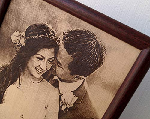 Engraved photograph on real leather, 3rd wedding anniversary gift idea, custom engraved framed picture, leather engraving, unique gift (Anniversary Gift Third Ideas)
